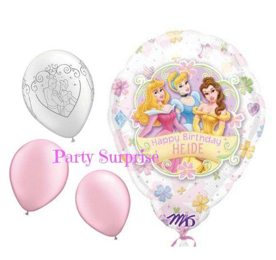 Princess Cinderella Birthday Balloons Personalized Custom Name Balloon Girl Cinder