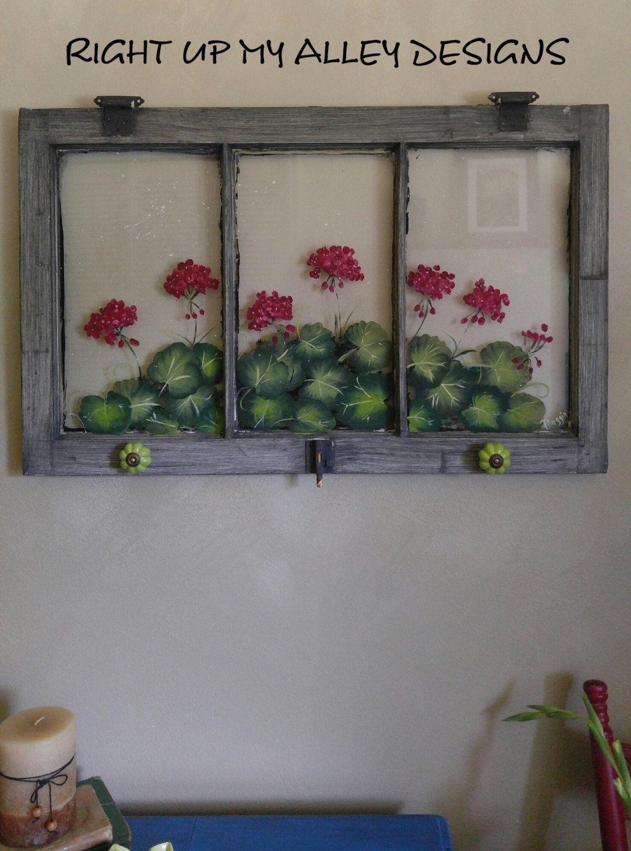 Painted Window Art Old Window Art Geranium Painted Window 3 Pane Window Small Window With Hooks Bohemian Dec Old Window Art Painted Window Art Window Painting