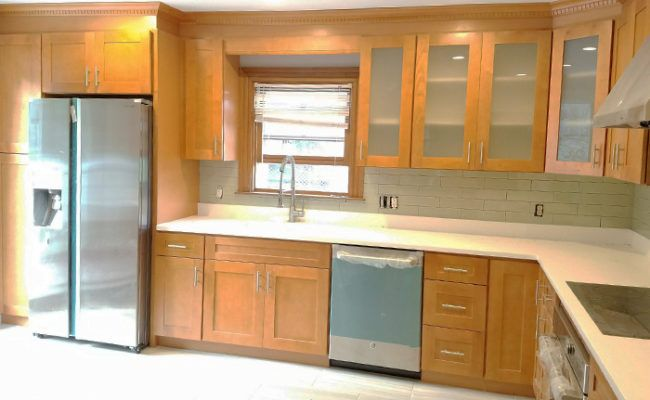 honey-shaker-cabinets-and-artic-white-quartz-2 | Cabinets ... on Natural Maple Maple Cabinets With Quartz Countertops  id=76361