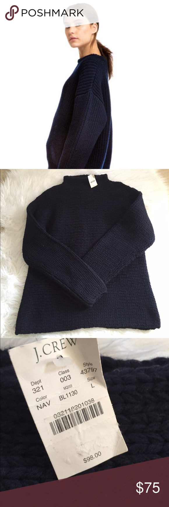 Chunky J.Crew Sweater NWT | Navy colour, Navy and Customer support