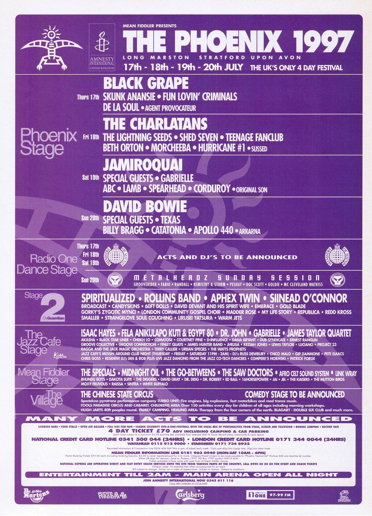 July 20th 1997 Phoenix Music Festival Stratford Upon Avon Britain