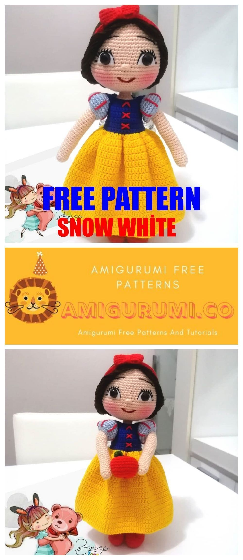 Photo of Amigurumi Snow White Free Crochet Pattern – Amigurumi Co,  #Amigurumi #Crochet #…