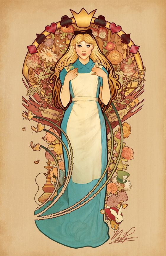 """""""Curiouser and Curiouser"""" - Alice from """"Alice in Wonderland"""" done in Art Nouveau style - Art by meganlara.tumblr.com"""
