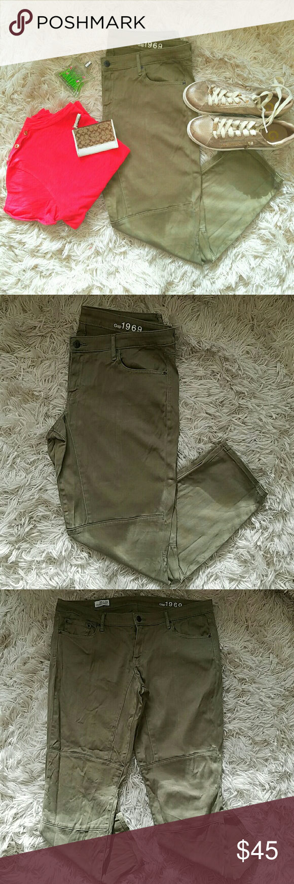 GAP Always Skinny Olive Moto Style Stretch Pants Pants in great used condition.  98% Cotton 2% Elastane  AB GAP Jeans Skinny