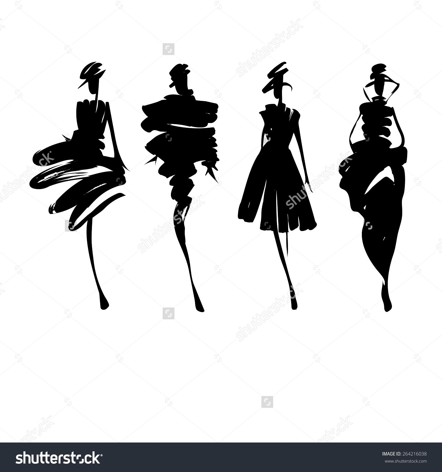 stock-vector-fashion-models-silhouettes-sketch-hand-drawn ...