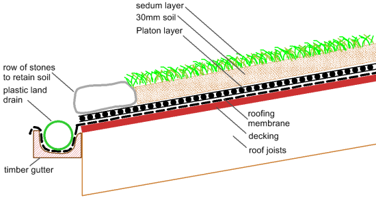 Diagram Of Sedum Roof Construction For Nearly Flat Roofs