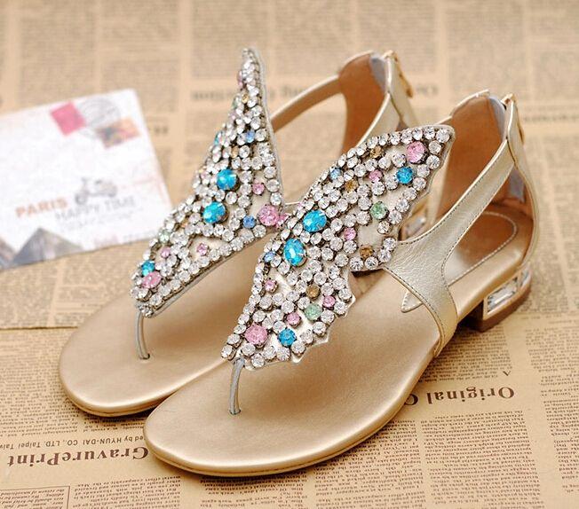8cca1a508 Rhinestone butterfly flip flops women sandals.