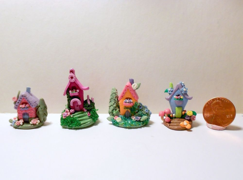 Whimsical Micro Miniature Fairy House LOT of 4 OOAK Artist Made by N. Fox