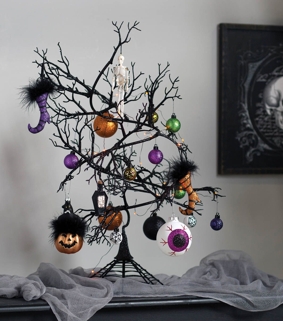 How To Make A Halloween Ornament Tree Halloween Ornaments Tree Halloween Ornaments Halloween Tree Decorations