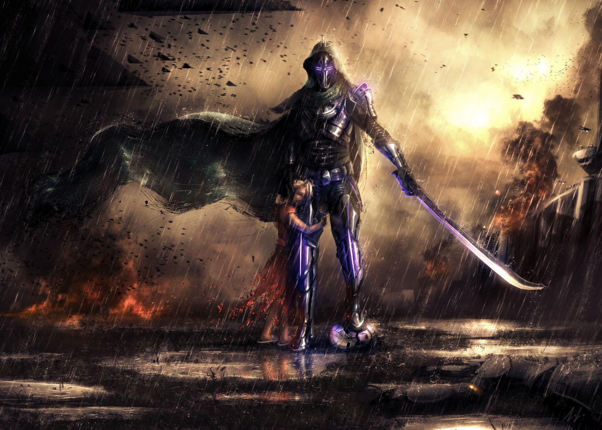 Destiny Destiny 2 Fan Art Hunter (Destiny) Rain 1080P