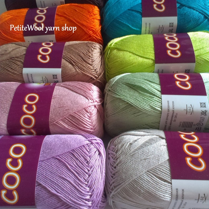 Hand knitting cotton yarn Crochet thread 3 ply Lilac cotton yarn set 100/% mercerized cotton yarn COCO Yarn kit Soft Crochet cotton yarn