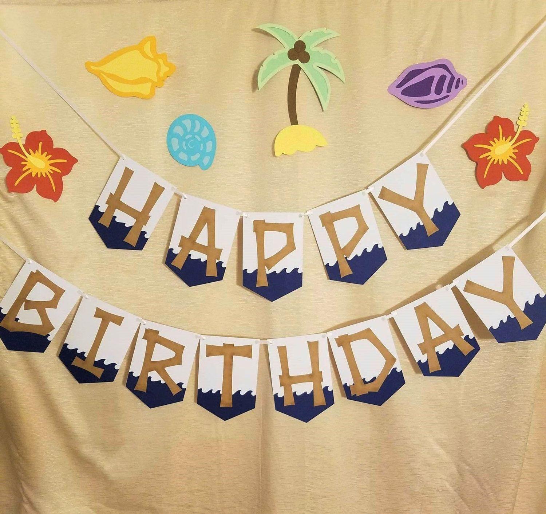 Moana Happy Birthday Banner Beach Hawaiian Luau Party