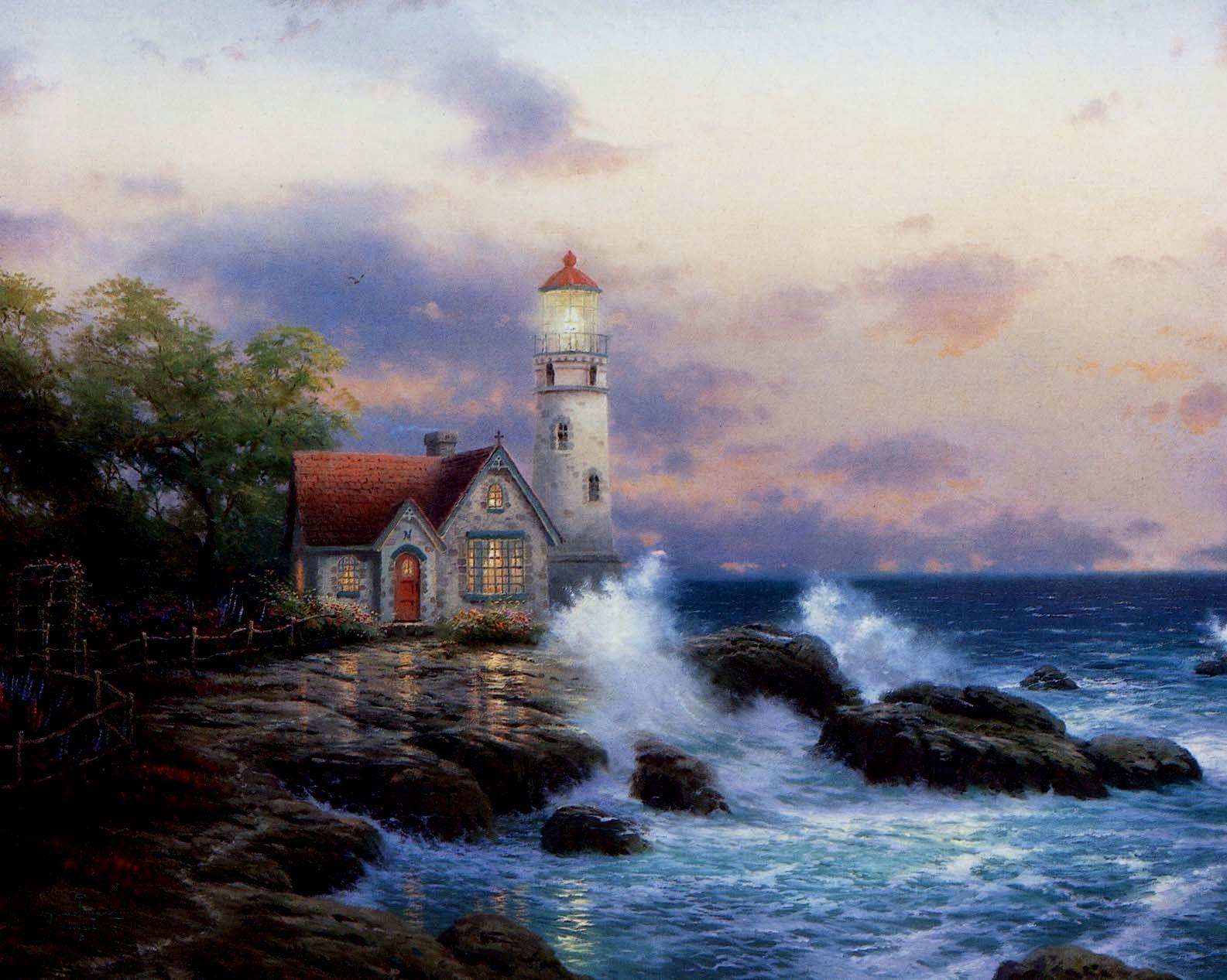 """Beacon of Hope"" by the Painter of Light, Thomas Kincade (January 19, 1958 - April 6, 2012)"