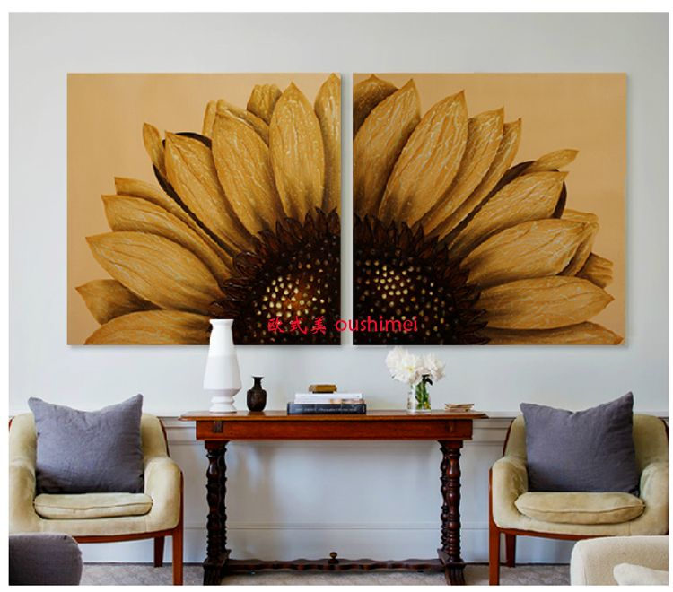 Handpainted Decorative Wall Painting Abstract Paintings 2 Pieces Abstract Canvas Art Home Office Hotel Sunflowers Oil Jpg 750 660 Pixels Pinterest