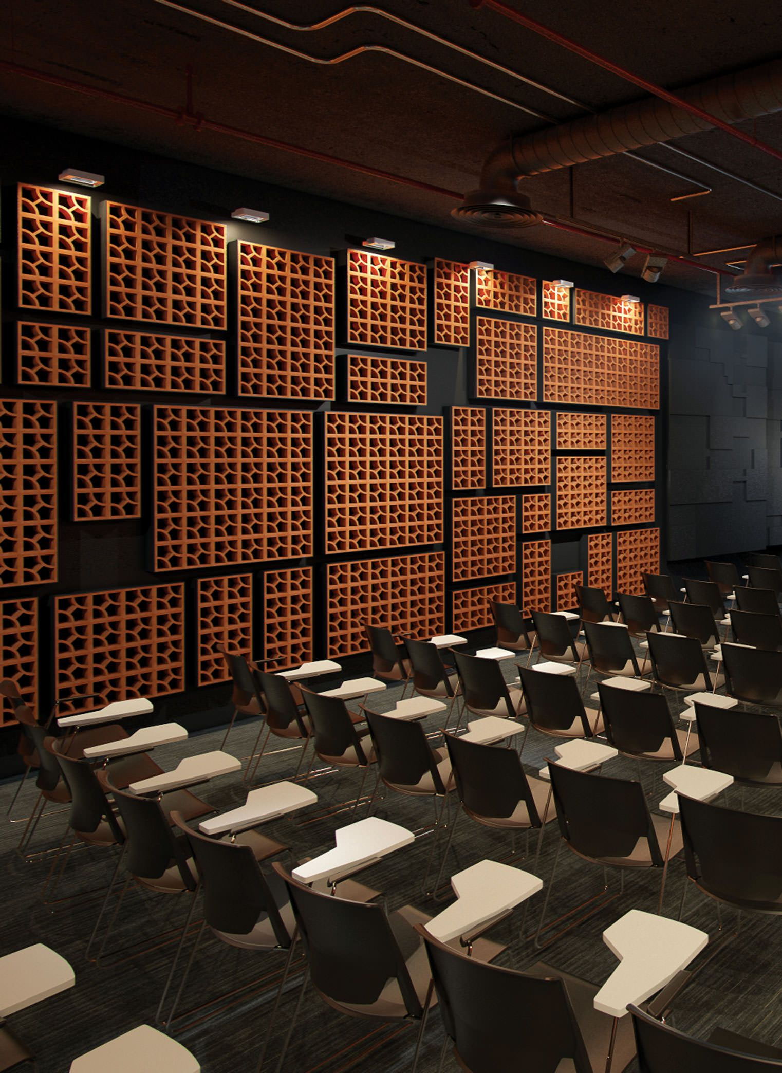 Google Auditorio Auditorium Wall Blocks Wall Apparent Swimming