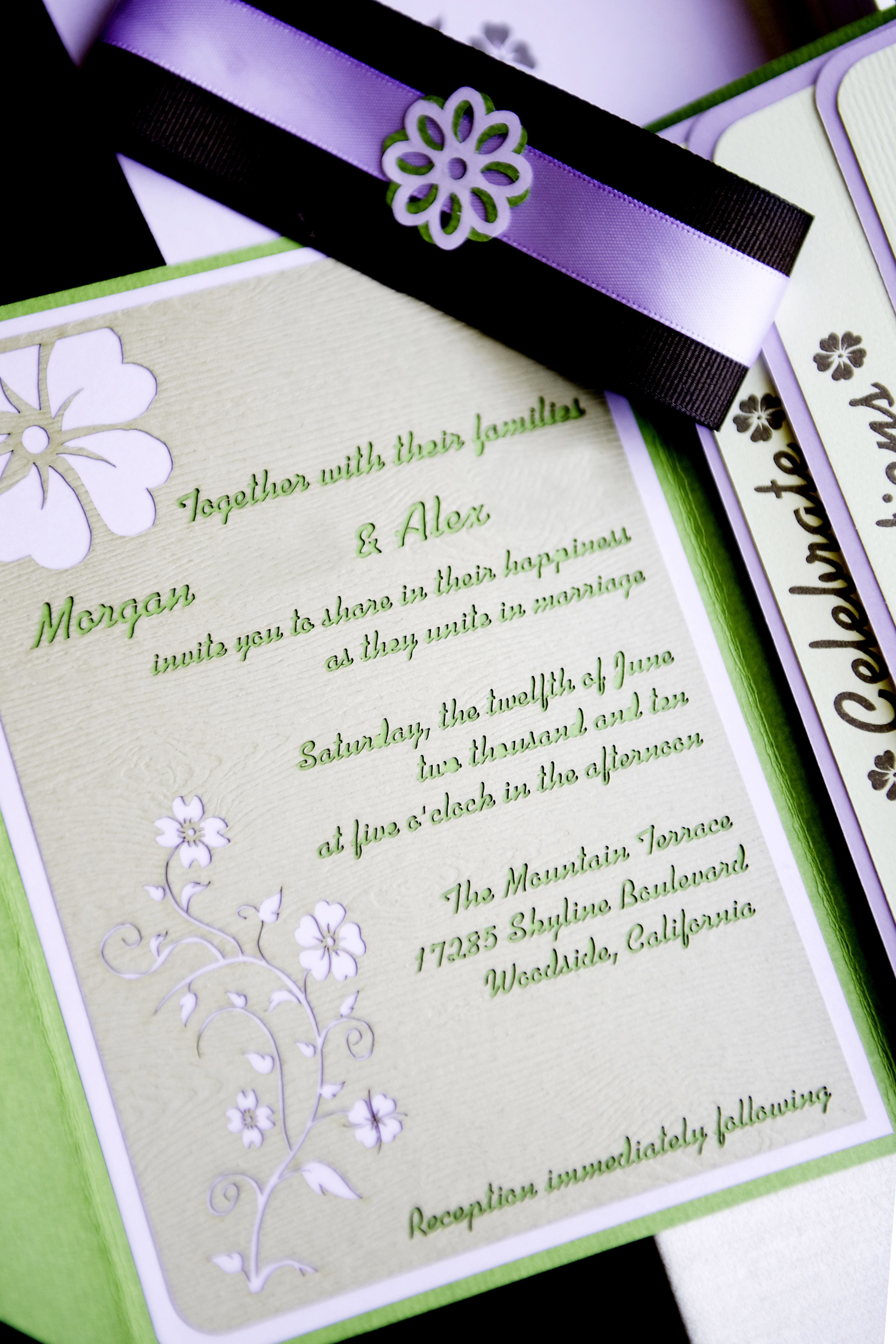 The Cola\'s DIY pocket fold wedding invitation suite, featuring laser ...