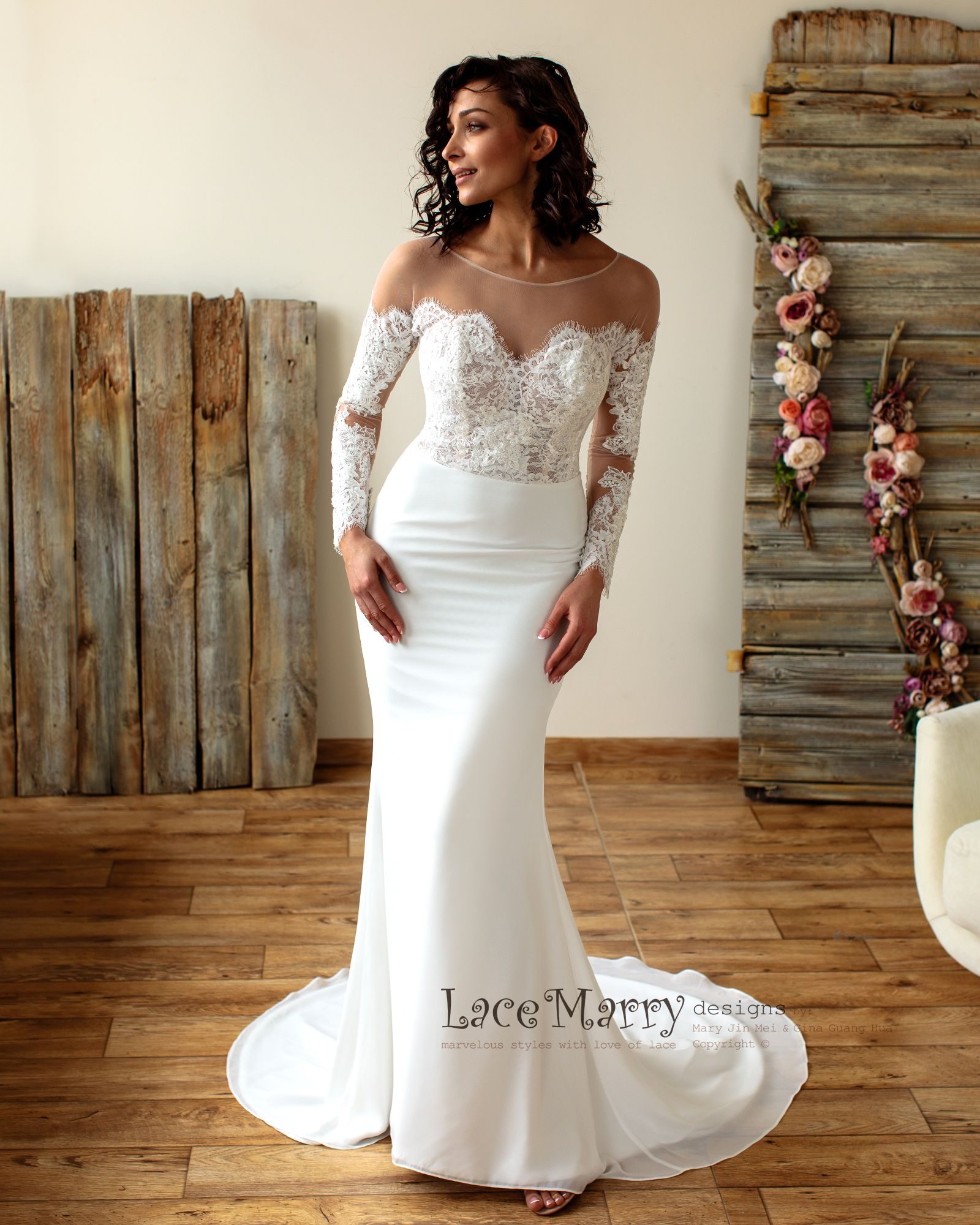 Pin On Off Shoulder Fitted Lace Wedding Dress Lmwd178