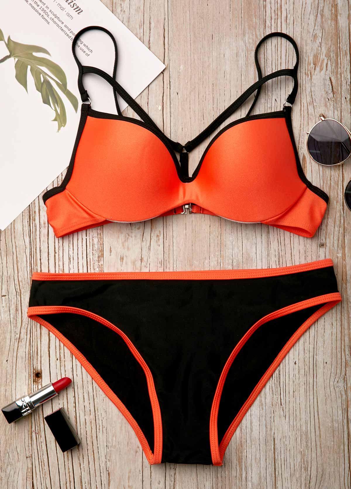 1ef3d276f96ec Spaghetti Strap Contrast Binding Orange Bikini Set   Rosewe.com - USD $28.10