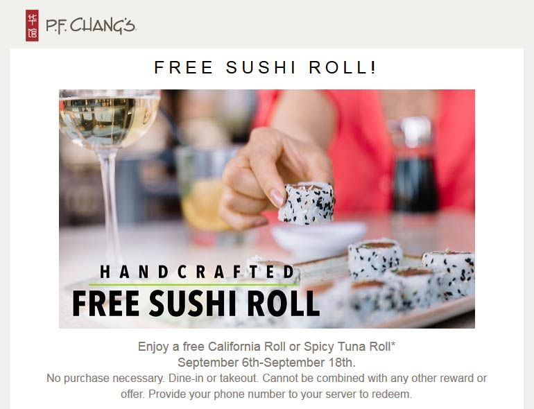 Pinned September 7th: #FREE sushi roll at #PFChangs restaurant no purchase…