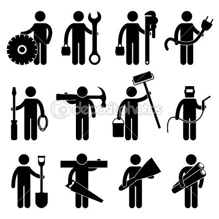 Construction Worker Job Icon Pictogram Sign Symbol By Khoon Lay