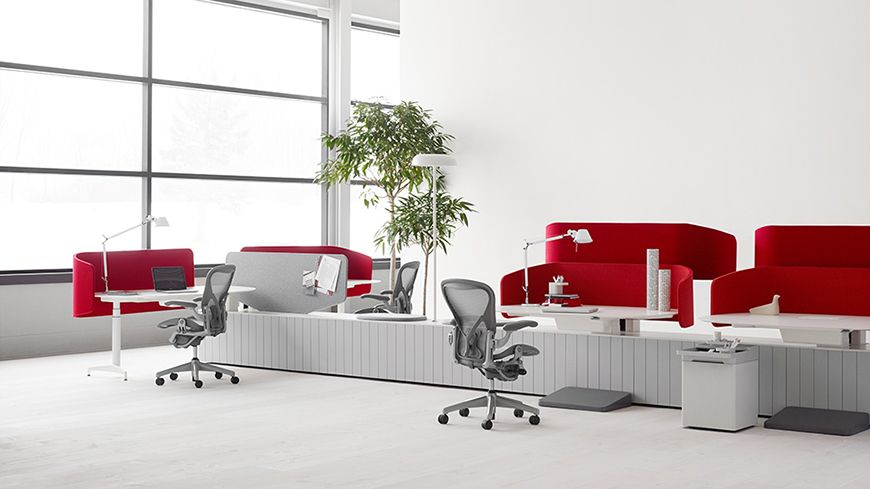A hive setting outfitted with a double l desk and two double d desks · office furniturehome