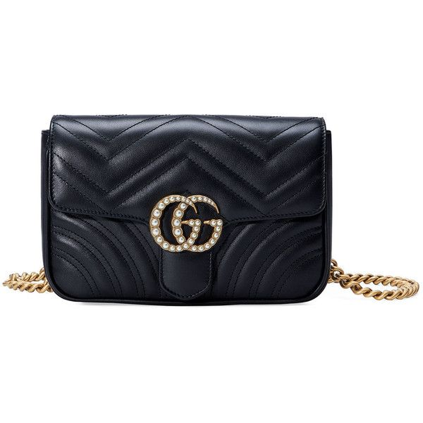 827243744 Gucci GG Marmont Matelass& Flap Belt Bag ($1,890) ❤ liked on Polyvore  featuring bags, handbags, black, waist bag, flap handbags, hip fanny pack,  bum bag ...