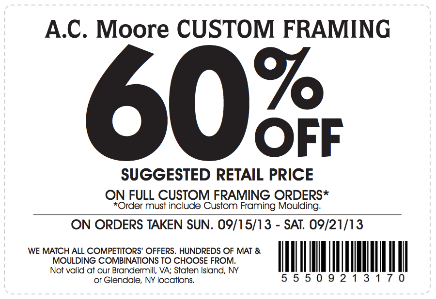 AC Moore: 60% off Framing Printable Coupon ... Couponing For ...