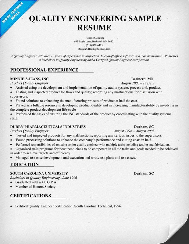 quality engineering resume sample resumecompanioncom - Manufacturing Engineer Sample Resume