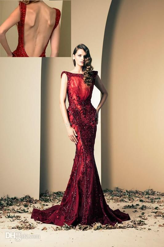 Wholesale - 2014 Ziad Nakad Wine Red Luxury Mermaid Evening Gowns ...