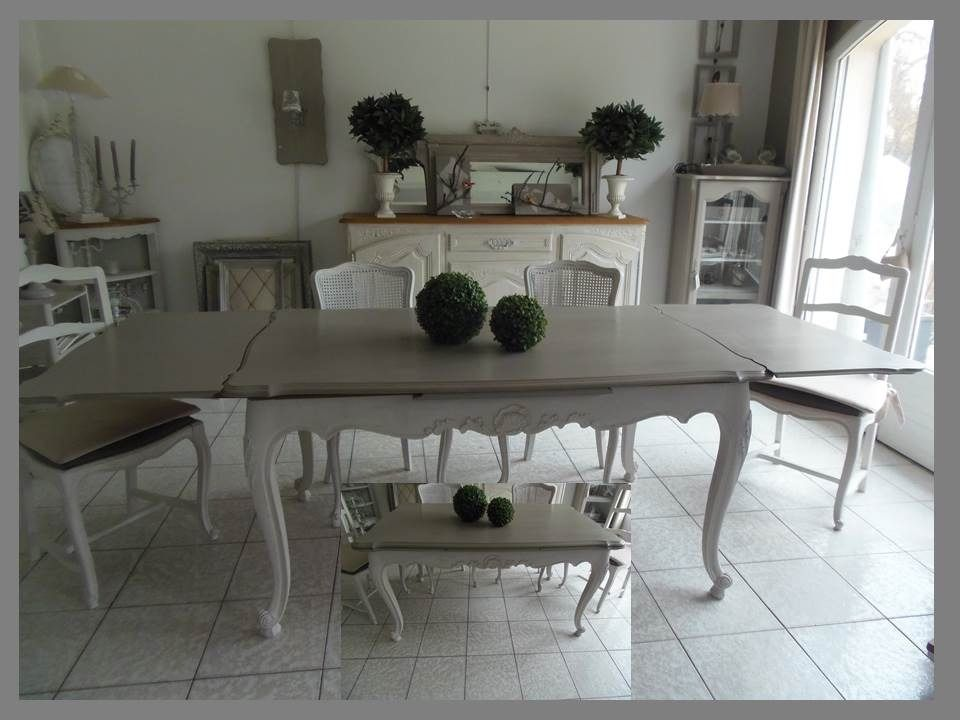 table en merisier atelierdes4saisons avec 2 rallonges 2x50 l 39 italienne patin e gris perle. Black Bedroom Furniture Sets. Home Design Ideas