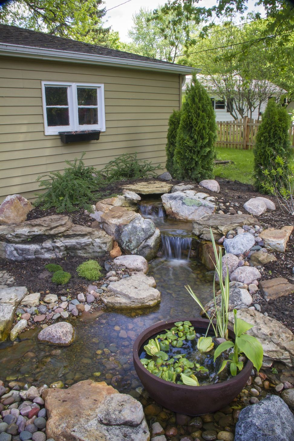 Image result for pondless waterfall on flat yard small