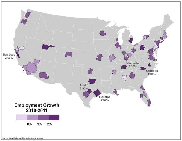 The US Cities With The Fastest Growing Job Markets Florida - Map of fastest growing areas in us