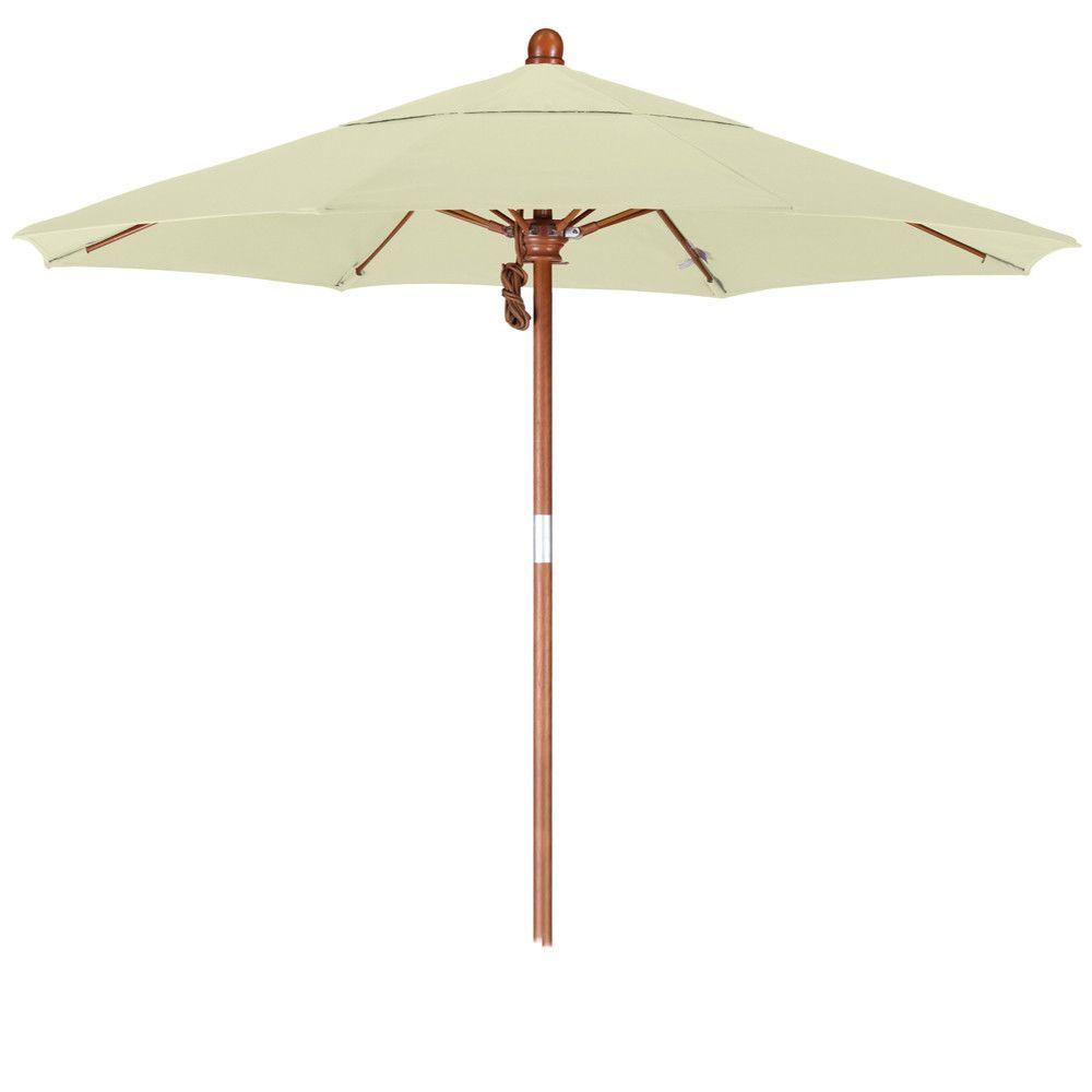 7 1/2 Foot Sunbrella Fabric Pulley Open Wood Patio Umbrella, 20 Colors