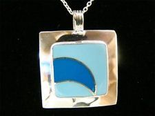 "925 SOLID STERLING SILVER LIGHT DARK BLUE SQUARE PENDANT w/ 18"" NECKLACE 5g"