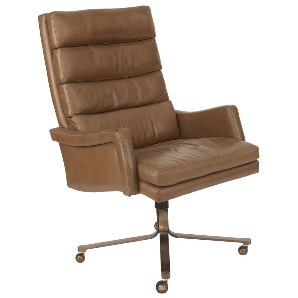 High Back Leather And Bronze Office Chair Vintage Office Chair Office Chair Chair