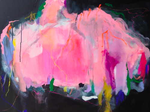 fairy floss 40 x 40 acrylic and pastel on canvas. commission Jenny Andrews-Anderson