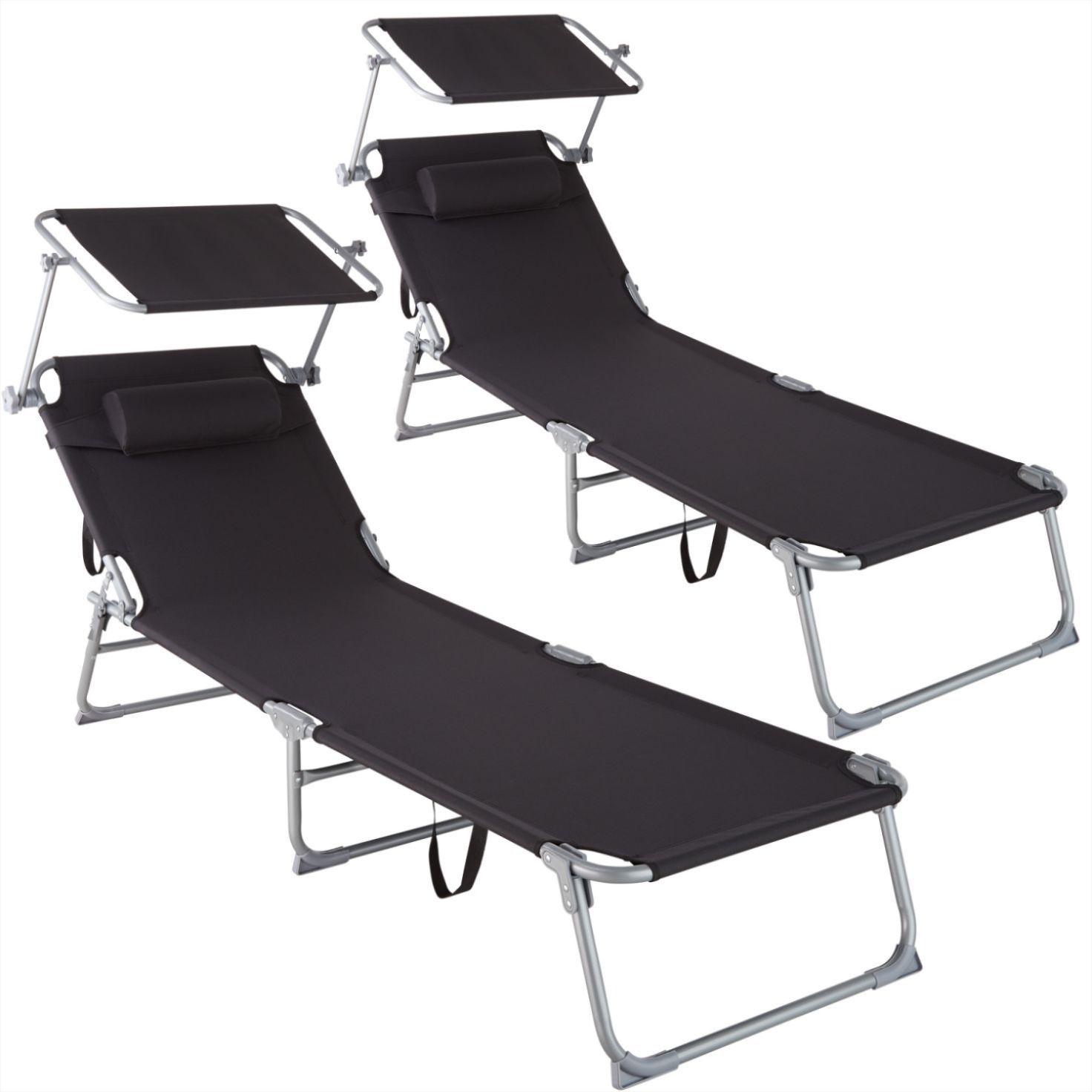 Lot De 2 Transats De Jardin Noir En 2020 Chaise Longue Pliable Chaise Longue Bain De Soleil