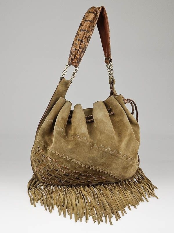 Jimmy Choo Camel Suede and Snakeskin Trim Tatum Fringe Hobo Bag SALE 495.00 042646bea84fc