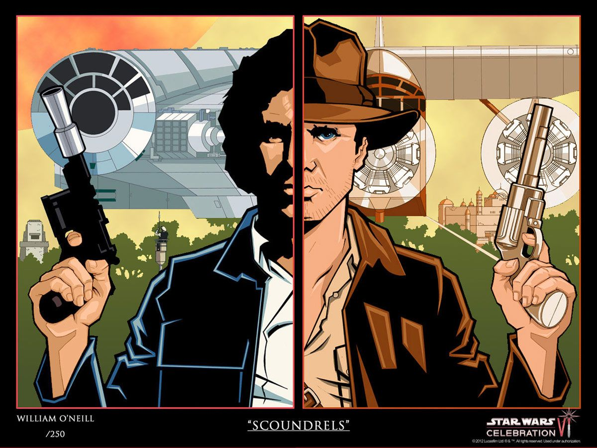 Indy Jones Han Solo mash up funny fantasy fan t shirt