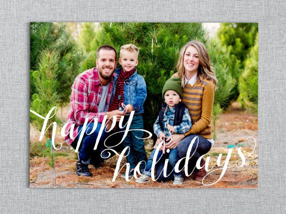 Happy Holidays // Script Christmas Photo Card by LAShepherd