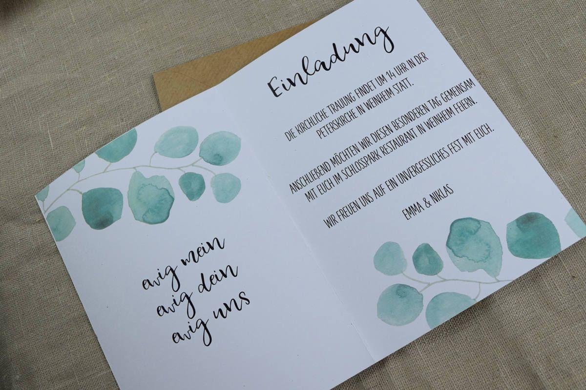 Hochzeitseinladung Eukalyptus Vintage Style Einladungskarte Zur Hochzeit Indviduelle Hochzeitskarte In 2020 Karte Hochzeit Hochzeitseinladung