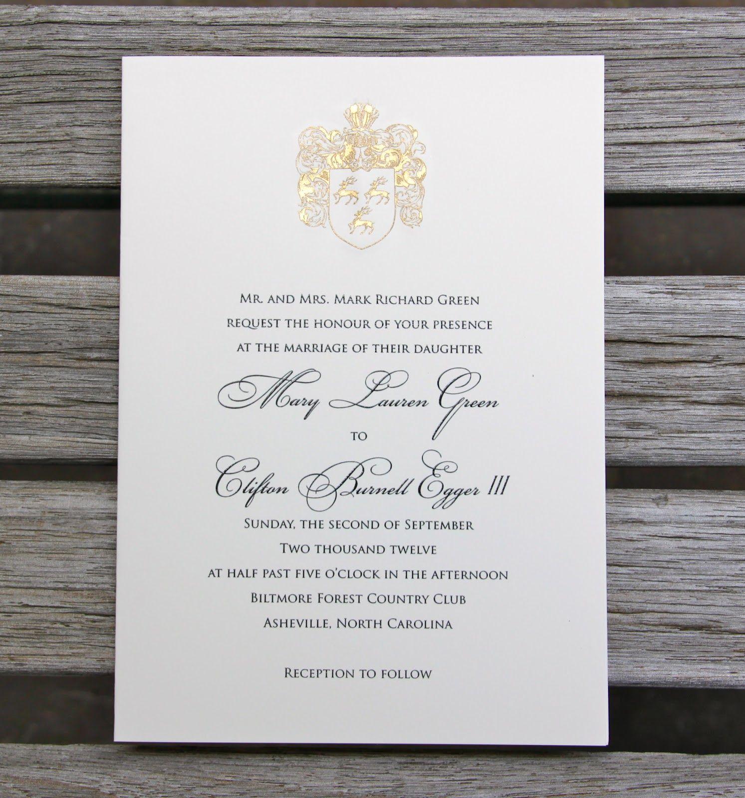 Family Crest Invitation Modern Calligraphy Wedding Invitation