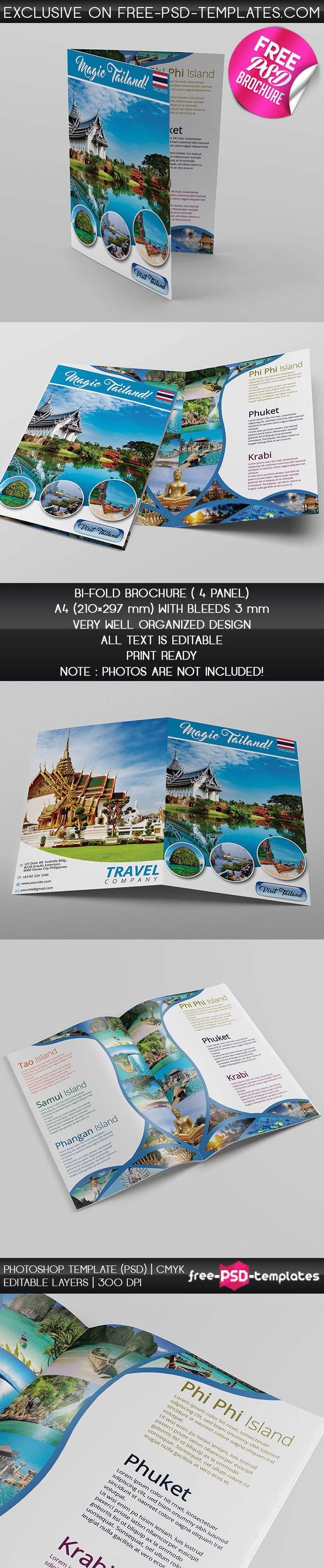 Touristic Bi-Fold Brochure – Free PSD Brochure Template | Free PSD ...