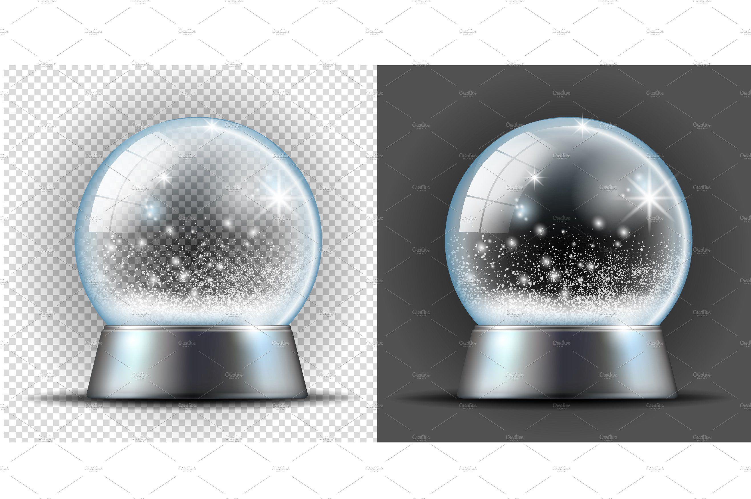 Realistic Transarent Snow Ball Snowball Snow Vintage Icons