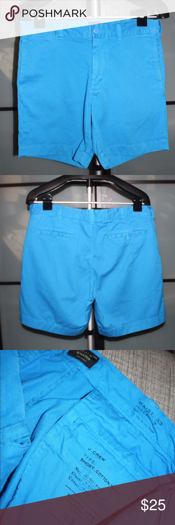 Jcrew Garment wash 7 inch shorts These are a pair of Jcrew Garment wash 7 inch shorts. They are a really pretty blue and have a garment wash finish which makes them look like you're favorite worn in pair of shorts. 7 inch inseam makes them the perfect length. No holes or stains. Just the broken in look from the dying of the shorts. Super comfy! J. Crew Shorts Flat Front