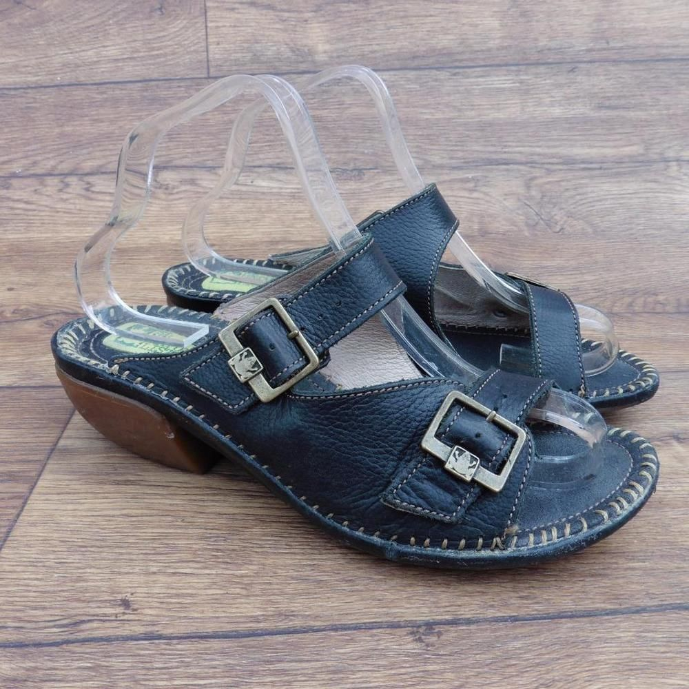 Black sandals ebay uk - Size Uk 7 El Naturalista Rana Tharu N451 Black Leather Buckled Mules Sandals Ebay