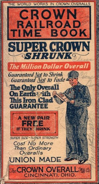 Crown Overalls Railroad Time Book (Cover), 1925-1926