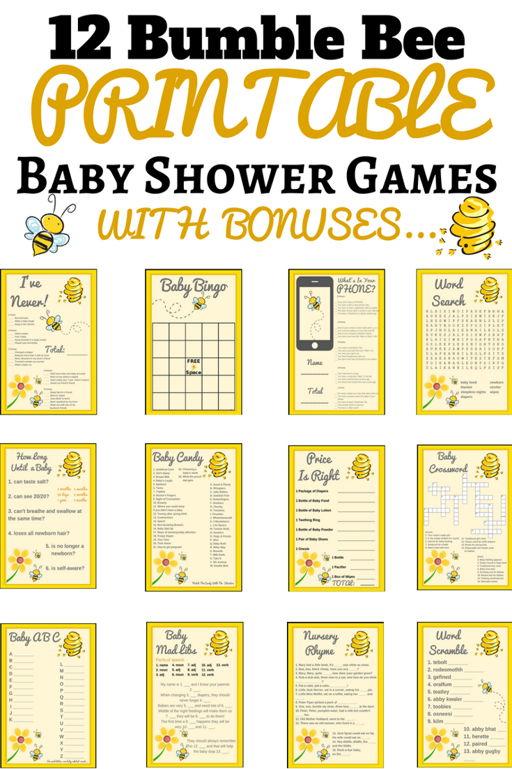 Bumble Bee Baby Shower Ideas | Bumble Bee Baby Shower Theme | Printable Baby  Shower Games
