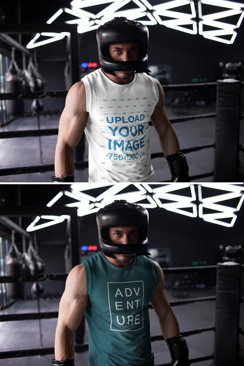 Download Placeit Mockup Of A Man Getting Ready To Spar While Wearing A Sleeveless Shirt Custom Sportswear How To Wear Active Wear