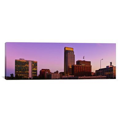 """East Urban Home Panoramic 'Omaha Skyline Cityscape (Sunset)' Photographic Print on Canvas Size: 12"""" H x 36"""" W x"""